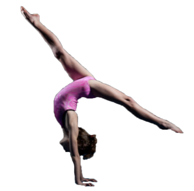 girl in pink leotard doing a handstand split