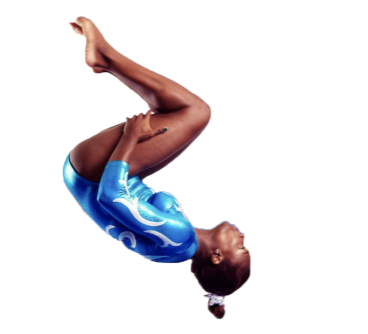 girl in blue leotard doing a flip